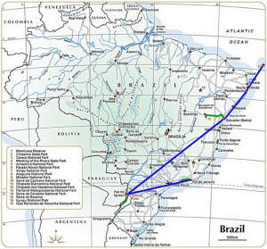 Mappa dell'itinerario del viaggio in Brasile e Nord dell'Argentina