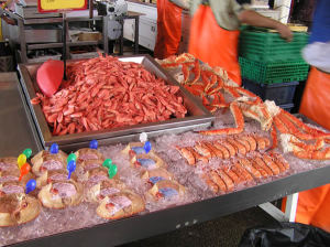 Mercato del Pesce (Fisketorget) di Bergen. Author and Copyright Marco Ramerini.