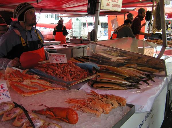 Mercato del Pesce (Fisketorget) di Bergen. Author and Copyright Marco Ramerini