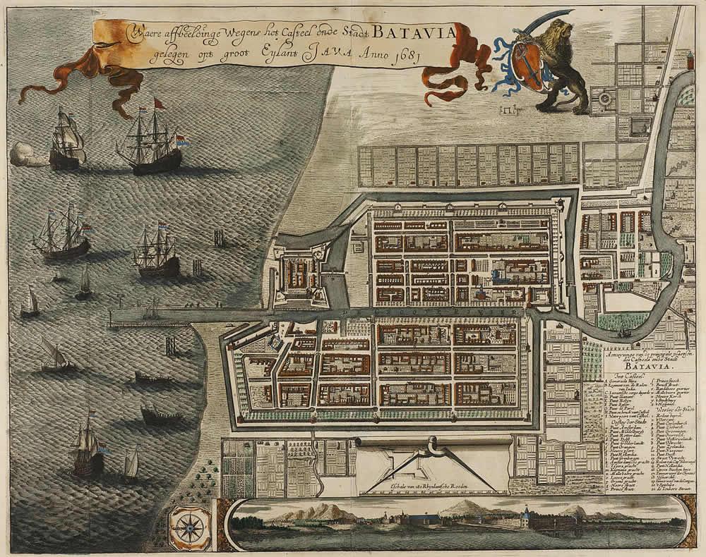 Mappa del Castello e della città di Batavia, sull'isola di Giava (oggi Jakarta, Indonesia) 1681. Autore Jan Janssonius