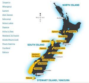 Mappa dei parchi nazionali della Nuova Zelanda