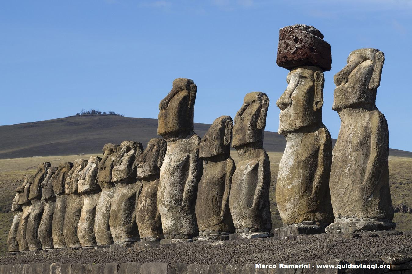 Ahu Tongariki, Isola di Pasqua, Cile. Autore e Copyright Marco Ramerini.