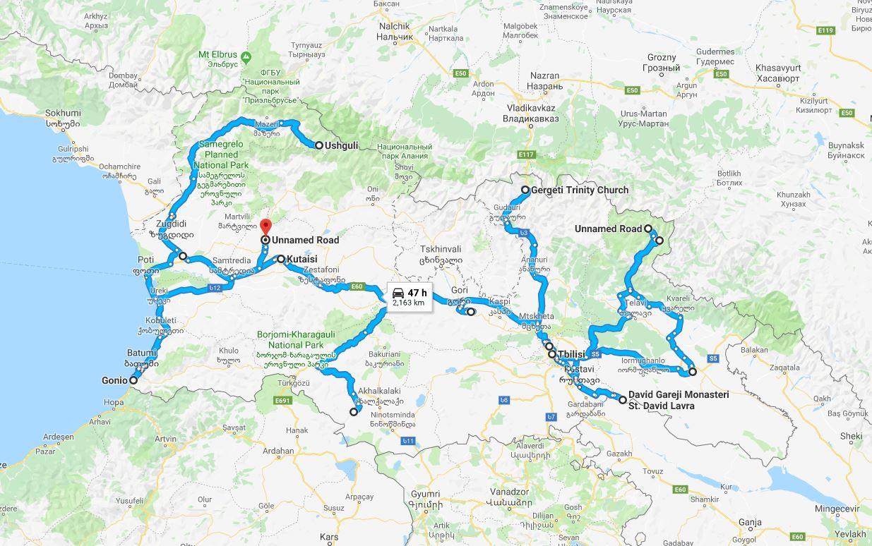 Mappa del viaggio in Georgia