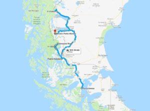Mappa del viaggio in Patagonia
