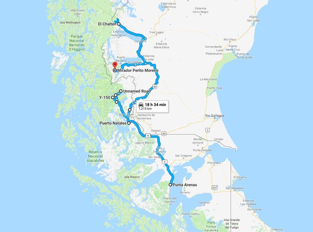 Mappa del Viaggio fotografico in Patagonia