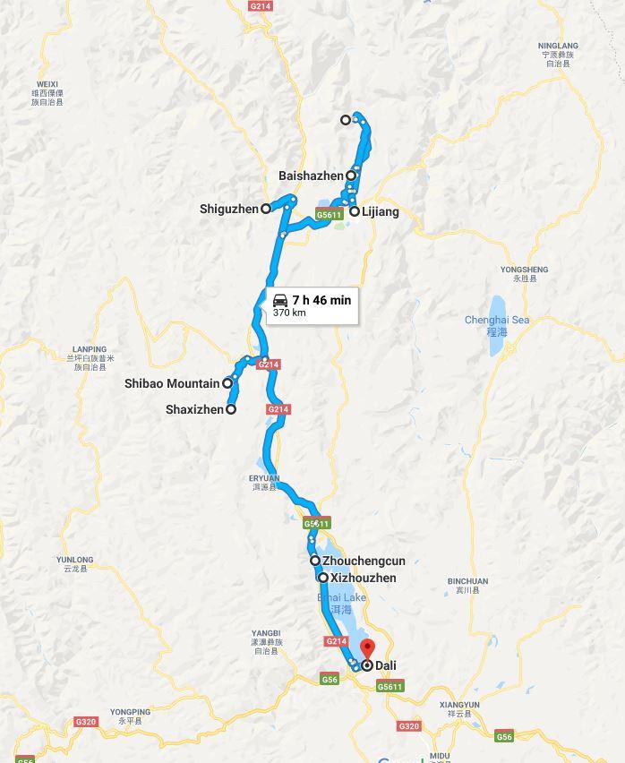 Mappa del viaggio nello Yunnan, parte nord