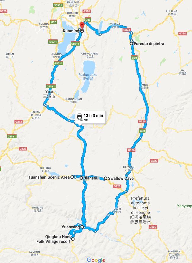 Mappa del viaggio nello Yunnan, parte sud