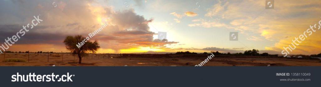 Tramonto con albero solitario e temporale in formazione in lontananza nelle terre aride del deserto di Atacama, Cile. Autore e Copyright Marco Ramerini.
