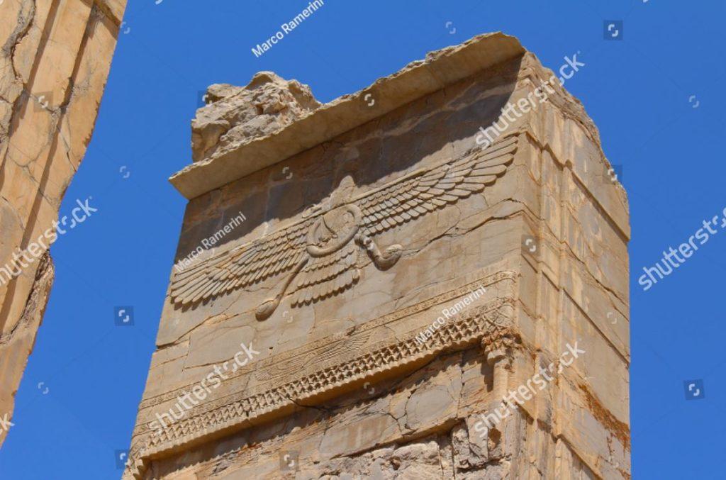 Persepoli, Iran. Simbolo dello zoroastrismo. Rovine della capitale cerimoniale dell'Impero persiano (Impero achemenide). Autore e copyright Marco Ramerini
