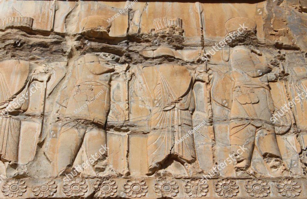 Persepoli, Iran. Un bassorilievo dell'Apadana. Rovine della capitale cerimoniale dell'Impero persiano (Impero achemenide). Autore e copyright Marco Ramerini.